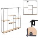 kwadratowa półka z 5 tacami z drewna metalowego, 1