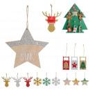 ornament fir glitter sledge 11cm, 12-time assor
