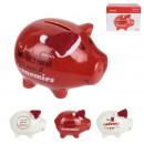 piggy bank ceramic pig christmas 11x9x7cm, 3-fold