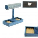 Großhandel Schmuck & Uhren: Schmuckhalter Samt blau 23x23,5x10,5cm, ...