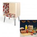wax shelf cabinet red on feet 40x30x60 cm