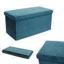 foldable bench chest velvet a blue pattern