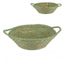 green braided basket with 2 handles, 1-time assor
