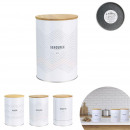 wholesale Organisers & Storage: round metal box 10.5 cm wooden cover, 3-fold