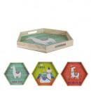 hexagonal wood tray lama gm, 3- times assorted