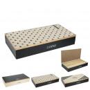 box coffee rectangular wood compartments x3, 3-