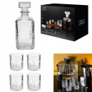 bottle whiskey and glass x4, 1- times assorted