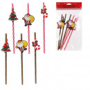 Reusable straw Christmas x6
