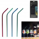 colored stainless steel straws x4 with bottle brus