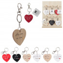keychain heart love words, 6- times assorted