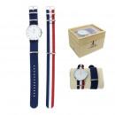 hurtownia Bizuteria & zegarki: Zegarek na rękę posrebrzany nato + tricolor i nieb