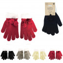 Großhandel Handschuhe: Pompons Handschuhe weiblicher Winter 4- fach sorti