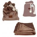 plaid pouch flannel gray ponpons 120x150cm, 1-fo