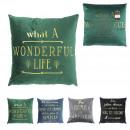 Pillow velvet gold words 40x40cm, 4- times assorte