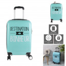 Suitcase cabin green words, 1-fold assorted