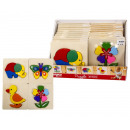 wholesale Decoration: Wooden Animal puzzle 4 assorted in Display 14.5x14