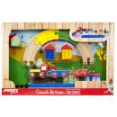 Großhandel Spielwaren: Holzeisenbahnset mit Zubehör 26x41cm