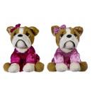 Großhandel Kleider: Plüsch Bulldog in rosa Kleid 2 sortiert 20cm