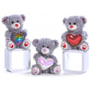 Plush bear with glitter heart 28cm