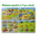 wholesale Decoration: Wooden button jigsaw puzzle 4 assorted 21x29cm