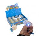 Großhandel Sonstige: Quetschball Glitter 7 cm mit Licht