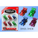 wholesale RC Toys: Race car 6cm Friction 6 pieces on card 30x20,5cm
