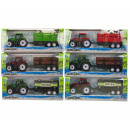 wholesale Other: Tractor with trailer Pull Back 6 assorted 9x22,5cm