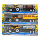 wholesale Other: Tractor Yellow with trailer Pull Back 3 assorted 7