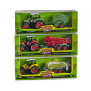 Die-Cast Tractor with trailer Pull back 3 assorted