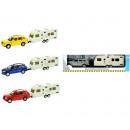 Großhandel Kinderfahrzeuge: Druckgusswagen mit Caravan 4 sortiert