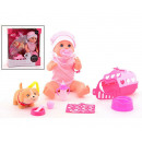 Baby Rose drinking and plaspop with dog 32cm