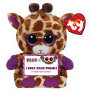 TY Plush Giraffe with Glitter eyes. Smartphone hol