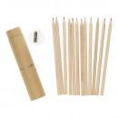 ingrosso Articoli da Regalo & Cartoleria: Tubo con 12 matite colorate e temperino 19 cm