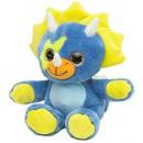 Großhandel Spielwaren: Plüsch Dino mit Glitzeraugen Blau / Grün 20cm (Bl