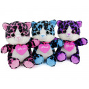 Glitter Eye Cat with Heart 3 assorted 16cm
