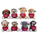 Plush Animals with heart 8 assortment 14cm