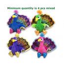 Plush Peacock Printed wings 4 assorted