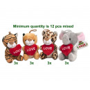 Plush Animals with heart 4 assorted 14cm
