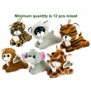 Plush wild animals 6 assorted lying 15 cm