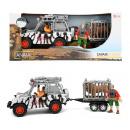 ANIMAL WORLD Speelset 'Safari' jeep+kooi+leeuw 12x