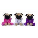 Perro de peluche en traje de purpurina 3 surtidos