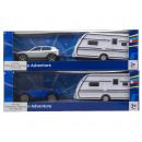 groothandel Kindervoertuigen: Die-Cast auto met caravan 2 assorti 9x29cm
