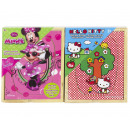 Hello Kitty Wooden Puzzle + Minnie Mouse 3 pcs 4 p