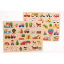 wholesale Puzzle: Wooden button puzzle 2 assorted 45x35 cm