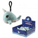 Großhandel Geschenkartikel & Papeterie: Plüsch Narwhale Bag Clip mit Sound drin Display 11