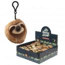Großhandel Geschenkartikel & Papeterie: Plüsch Sloth Bag Clip mit Sound drin Display 10 cm