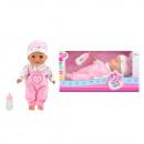 Großhandel Spielwaren: Babypuppe mit Flasche liegend 30 cm