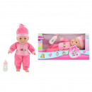 Baby doll with bottle lying Rose 30cm