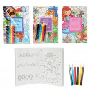 wholesale Crafts & Painting: Coloring and games book with 6 coloring pencils 4