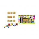 Großhandel Geschenkartikel & Papeterie: Stempelset 8x Stempel + Tinte und Bleistifte 14,5x